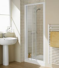 900MM SEMI-FRAMELESS BI-FOLD SHOWER DOOR (WHITE)